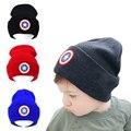 Новые Детские Мальчики Девочки Hat Хлопок Caps Новорожденного Ребенка Шляпу Капитан Америка дети холодная вязаная шапка