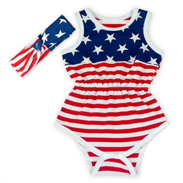 4e01e49705e3 5pcs Wholesale 4th of July American Girl Romper American Flag Baby girl  clothes 4th of July Outfit Pom Pom Baby Romper Headband