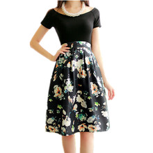 Floral Printing Ball Gown Vintage knee-length Umbrella Skirt Women Summer Faldas Nice New Jupe Femme Skater Skirt TT1288
