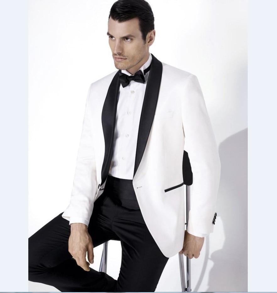 2017 Custom Made White Blazer Black Satin Shawl Lapel