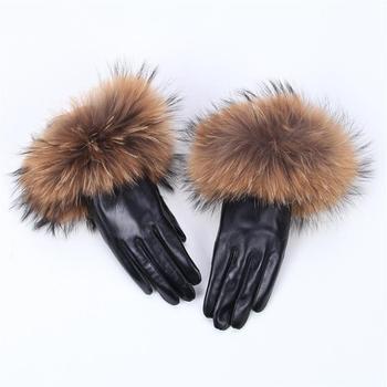 2019 new  Real Raccoon Fur Gloves Leather Womens Fashion Luxury Big Sheepskin Genuine Female