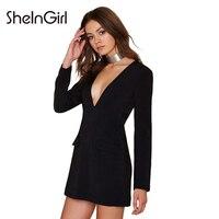 SheInGirl Sexy Blazer Dress Women 2017 Autumn Red Bodycon mini Dress Party Club Black Casual Dress Ladies office Vestidos