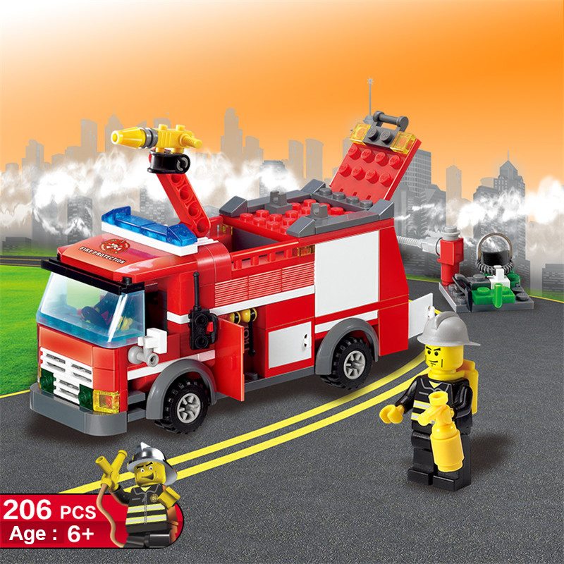 Educational Toys! Toys & Hobbies New Arrival 206pcs Fire Truck Building Blocks Small Particles Diy Action Figure Toys Best For Kid Legoeings