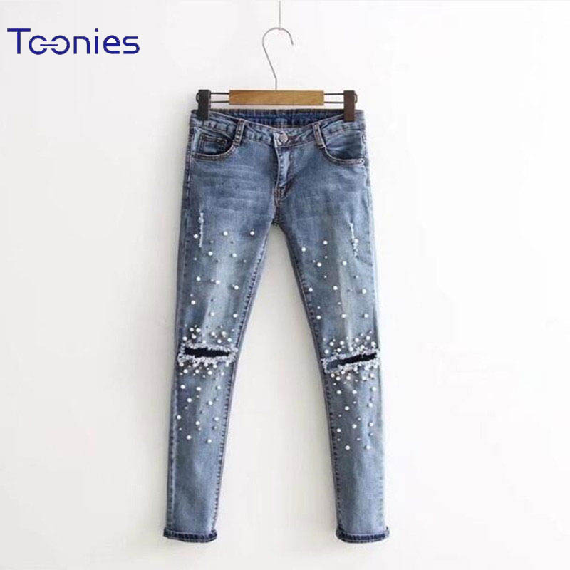 New Arrivals Women Fashion Skinny Jeans Female Long Embroidered Flares Hole Denim Pencil Pants Feminino Mid Waist Blue Trousers