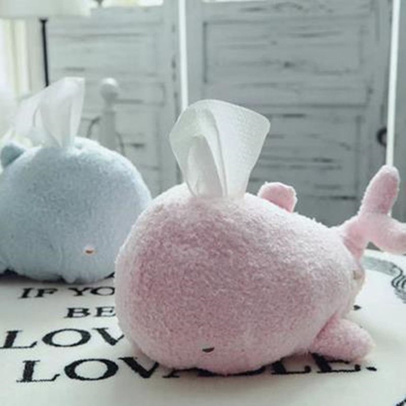 Plush Whale Tissue Case Napkin Holder Dispenser Home Car Box Container Towel Roll Paper Cover Organizer Pouch Table Decor