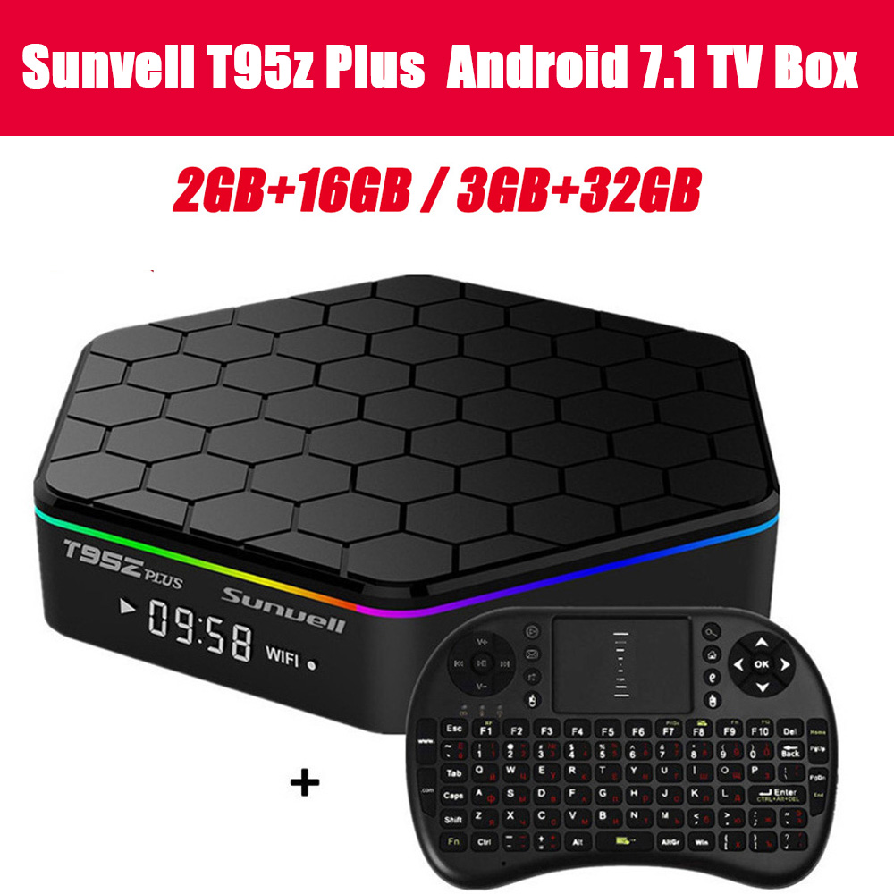 Sunvell T95Z Plus Android 7.1 Smart Box Amlogic S912 Octa Core 4 k x 2 k H.265 Décodage 2.4g + 5g Double Bande WiFi Media Player TV Box