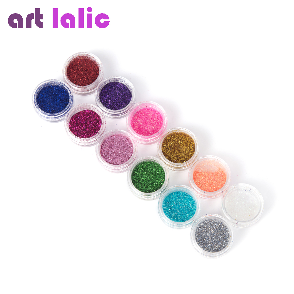12 Colors Mix UV Gel Nail Art Glitter Dust Powder For UV