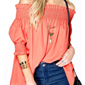 Ropa sexy ruffles tops uno de los hombros 2017 resorte de las mujeres elegantes blusas de moda femenina orange color camisas ropa de fiesta
