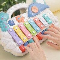 Детская музыкальная игрушка, головоломка для младенцев, восьмицветная музыкальная игрушка для фортепиано, 2 в 1, детская игрушка для рук, игр