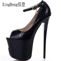 Ladies Sexy Ultra High Heel Shoes Size 19cm Thick Platform Pumps Women Crocodile Pattern Ankle Strap Shoes Size 34 43