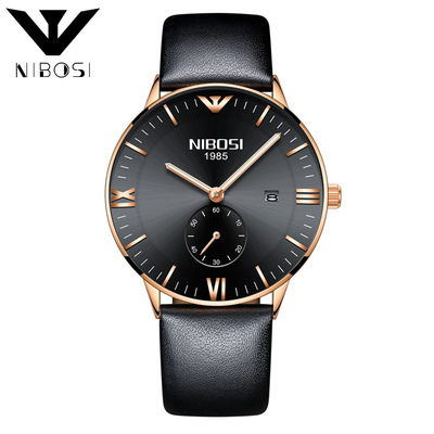 Mens Watches Top Brand Luxury NIBOSI Watch Men Leather Strap Casual Quartz Watch Sport Military Clock Male Wristwatch Relogio mens watches oulm top brand luxury military quartz watch unique 3 small dials leather strap male wristwatch relojes hombre