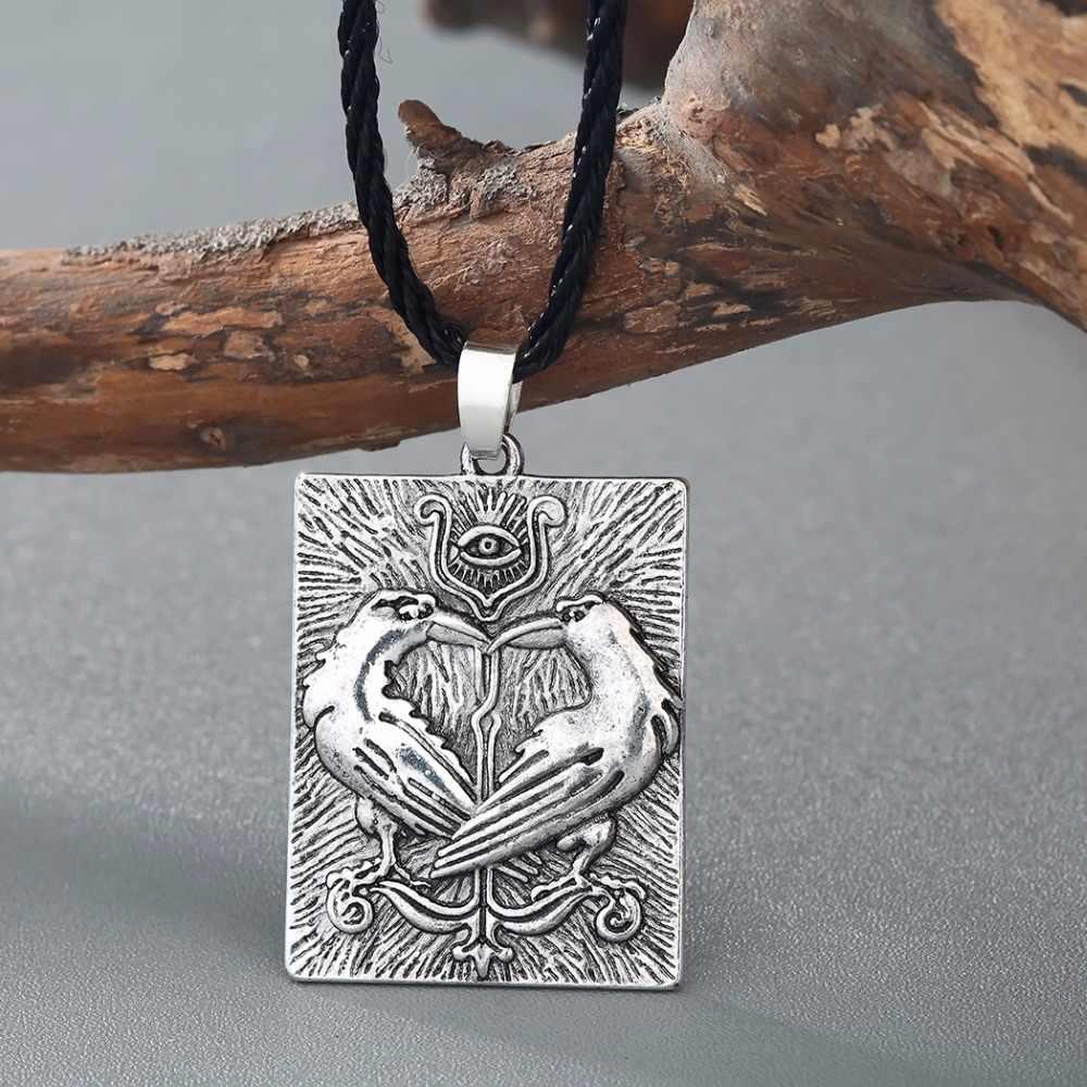 Kinitial Valknut Norse Vichinghi Odin Simbolo della Huginn Munin Animale Ravens Collane Pendente Della Collana Dell'occhio Diabolico Slavo Rune Monili