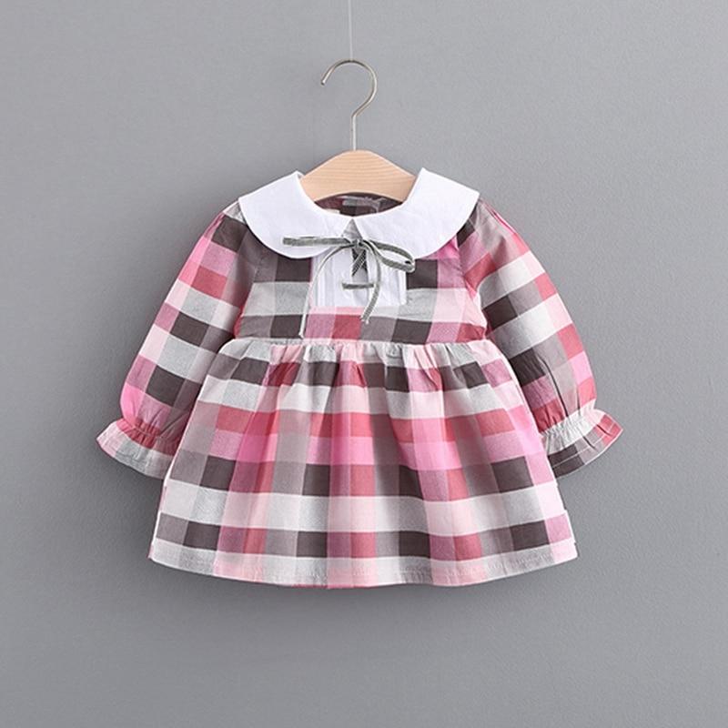 Autumn Cotton Baby Girls Long Sleeve Plaid Print Pleated Tutu Dress Kids Infant Princess Party Dresses