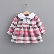 Autumn Cotton Baby Girls Long Sleeve Plaid Print Pleated Tutu Dress Kids Infant Princess Party Dresses vestidos