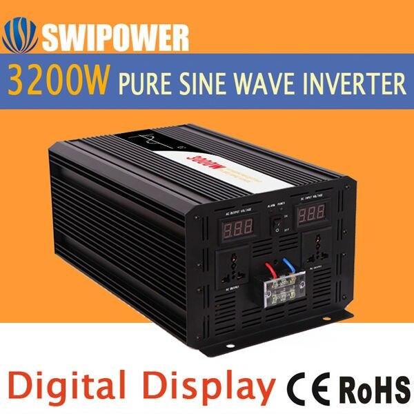 3200 W 3000 W onda sinusoidal pura Solar Power inverter 24 V DC 12 V 48 V AC 110 V 220 V pantalla digital