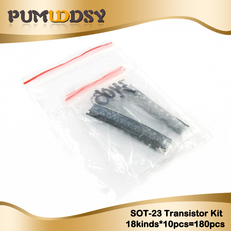 Transistor Assorted Kit (SOT-23) 18kinds*10pcs=180pcs 2N2222 S9013 S9014 S9015 S9018 S8050 S8550 5551 5401 2N3904 2N3906 C1815