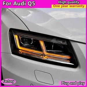 Image 4 - Estilo do carro para audi q5 faróis 2009 2012 2013 2018 audi q5 auto led farol drl lente feixe duplo bi led lente farol do carro