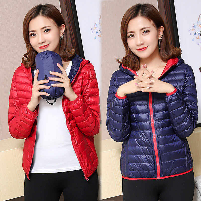 2020 kaczki ultralekka kurtka puchowa kobiet zima gęsie pióro płaszcz zimowy cienki Slim ciepła Parka kurtka z kapturem odzież dwustronna Okd209