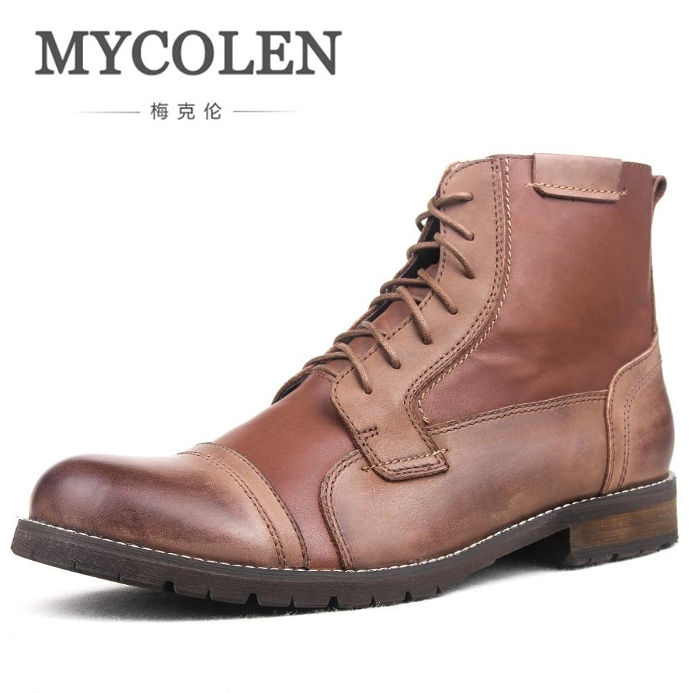 MYCOLEN Brand New Hot Newest Keep Warm Winter Boots Brand Designer Men High Quality Genuine Leather Fashion Autumn Men Boots mulinsen newest 2017 autumn winter men