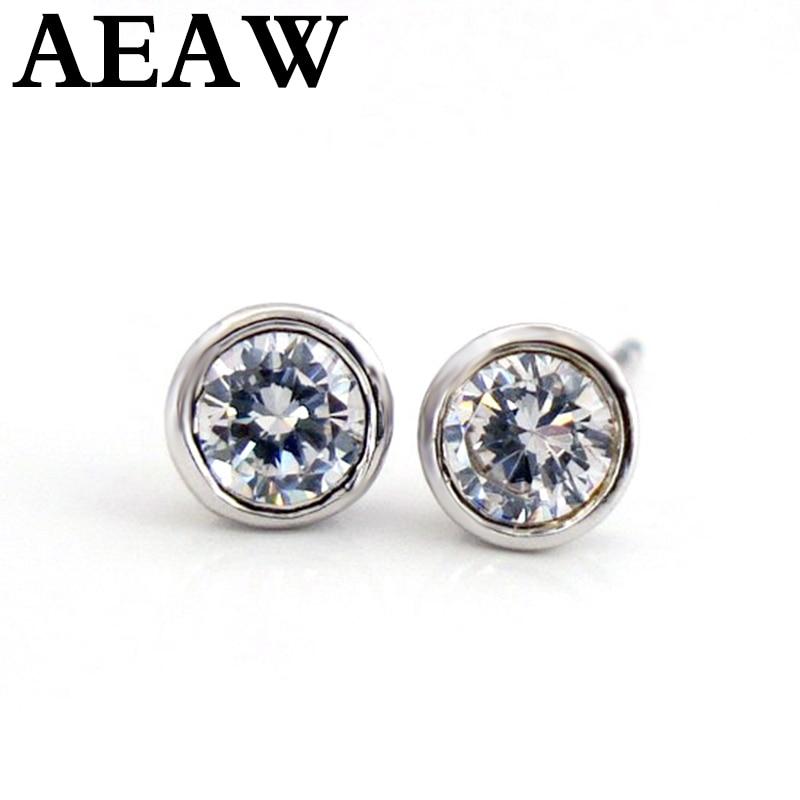 Solid 14K White Gold 0 5ct 1ct EF Push Back Stud Earrings Test Positive Moissanite Diamond