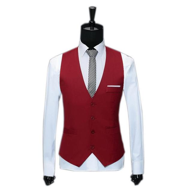 M-3XL Red Suit Vest Casual Jackets Sleeveless Men Waistcoat Spring Autumn V-Neck Slim Fit Mens Clothing Work Gilet