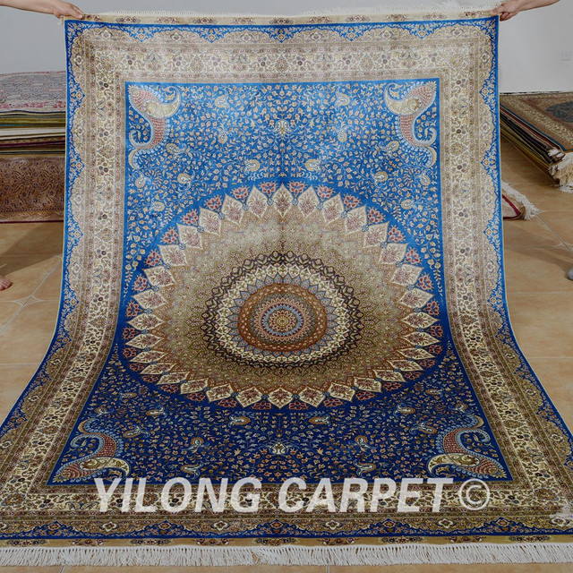 Yilong 5 X8 Persian Carpet Medallion Rectangle Vantage Blue Handmade Silk Rugs India