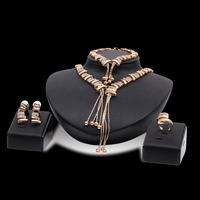Dubai Jewelry Sets Hot Sale New Design Crystal Pendant Necklace Bracelet Ring Stud Earring For Women