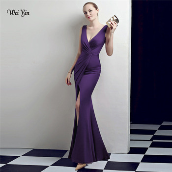 weiyin Purple Mermaid Evening Dress 2020 Sexy Sleeveless Split Formal Celebrity Long Evening Gown Dresses robe longue WY1027