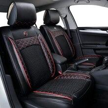 VOITURE VOYAGE Automobiles Housses De Siège en cuir + tissu en soie de glace de voiture siège cover set fit 98% voitures modèles de voiture sièges protecteur styling