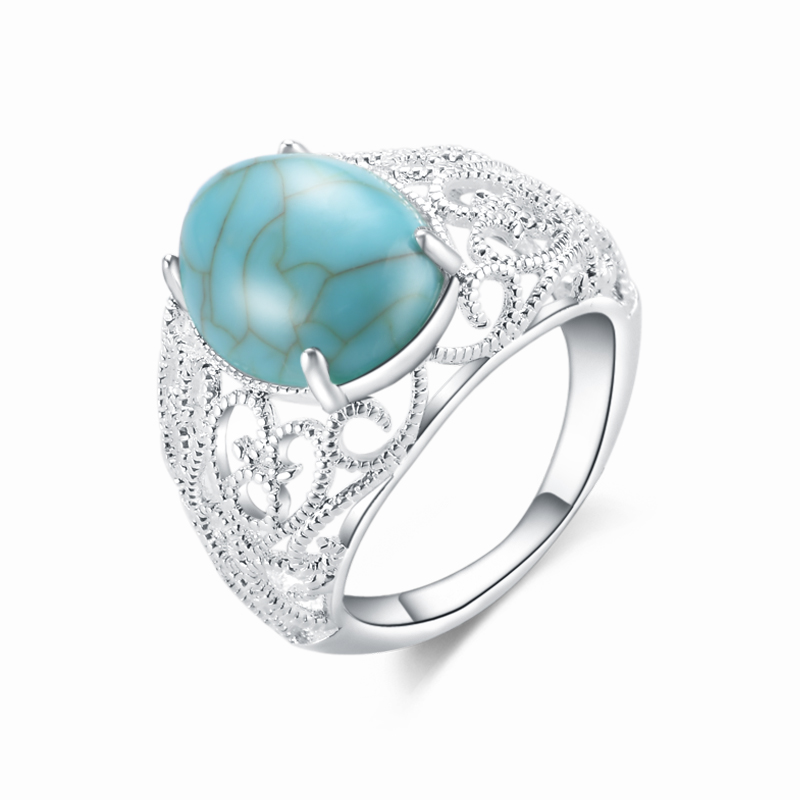 New Designer 2018 Trendy Brand Jewelry Vintage For Womens Red Blue Oval Turquoises Ring Silver Gem stones Finger Rings Hot Sale