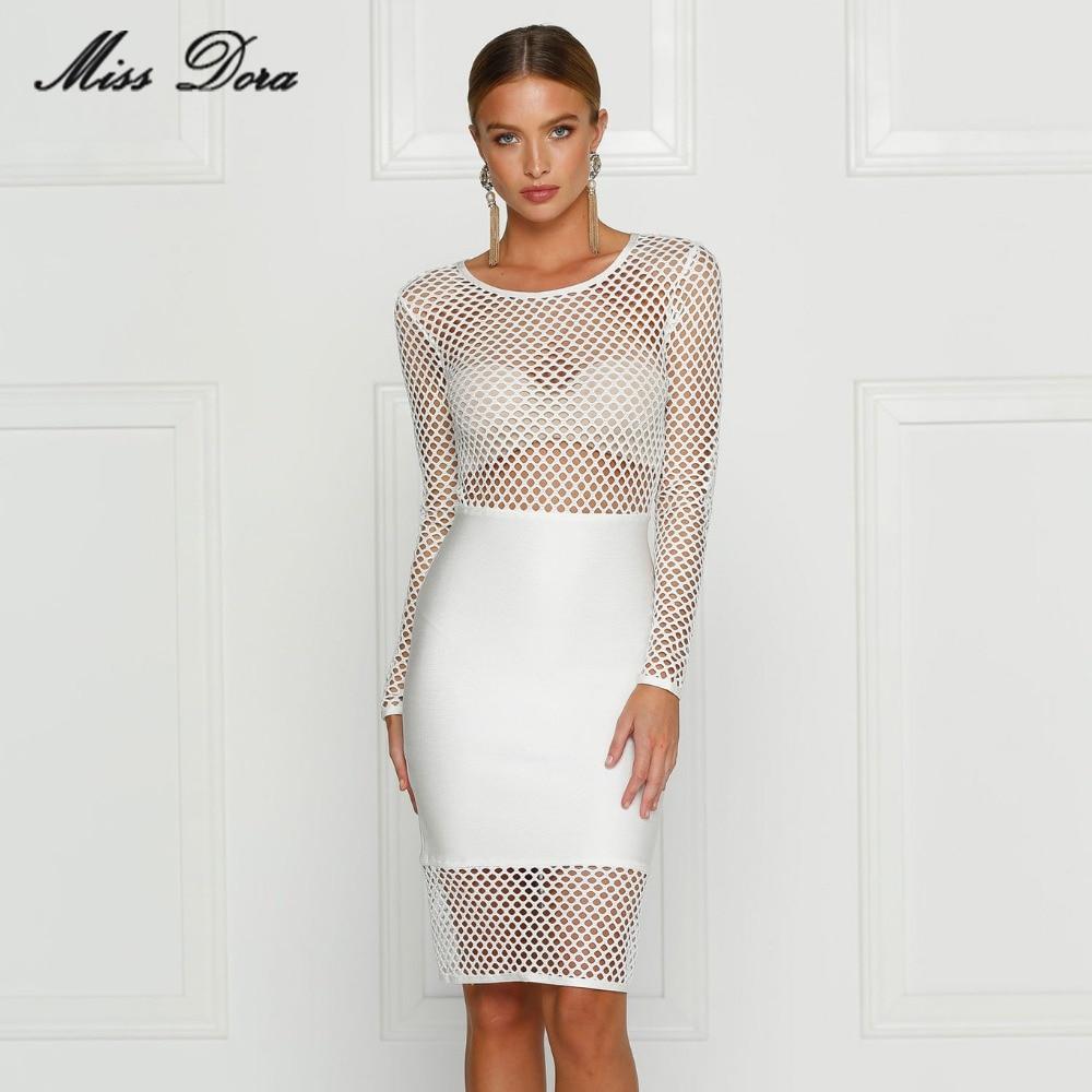 e939192357 New 2016 autumn winter White Net Hollow Out Long Sleeve Bandage Dress  Celebrity Party Bandage Dress
