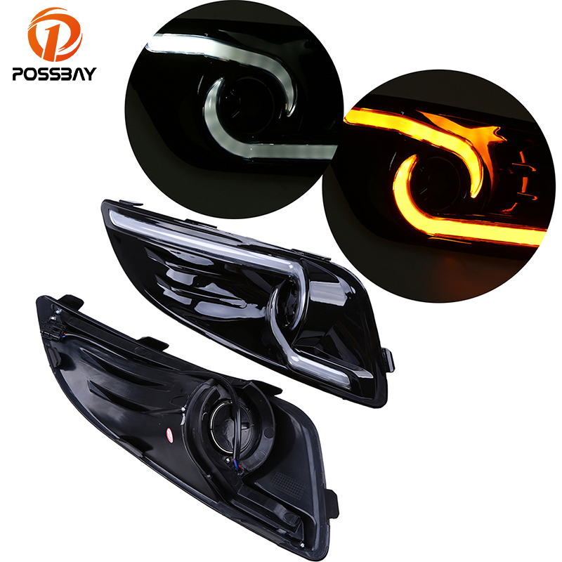 POSSBAY Turn Signal Light LED DRL Daytime Running Lights White Yellow Fog Light Assembly for Ford Fiesta ST 2013 2014 2015 лак для ногтей mavala creamy mini color s 001 цвет 001 ankara variant hex name b51758