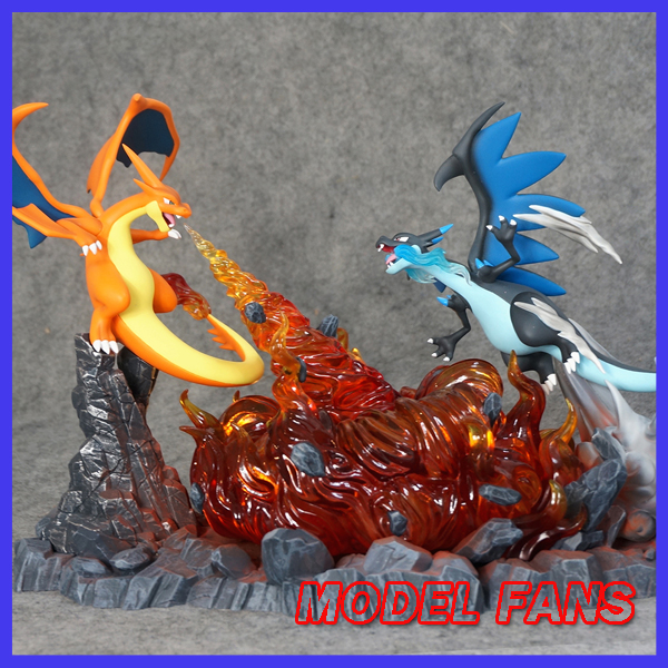 MODEL FANS IN-STOCK 23cm height Charizard VS mega evolution Charizard gk resin statue figure for collection