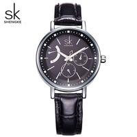 SHENGKE Luxury Women Watches Fashion Ladies Quartz Watch Women S Black Leather Strap Gold Quartz Wristwatches