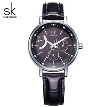 SHENGKE  Luxury Women Watches Fashion Ladies Quartz Watch Women's Black Leather Strap Gold Quartz-Wristwatches Female watch xfcs