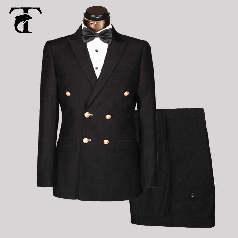 3116b9174c4 Мужские костюмы для свадебных костюмов с брюками джентльменский костюм для  вечерние модный двубортный костюм мужской деловой