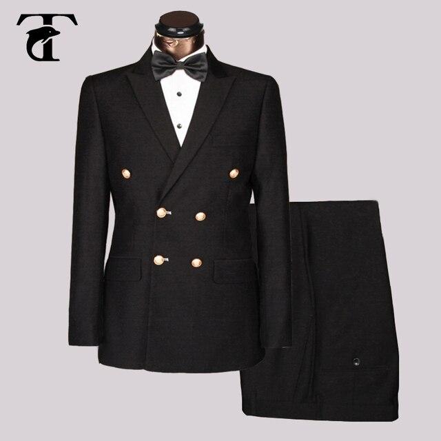 Mannen Pakken voor Bruiloft Suits met Broek Gentleman Pak Party mode Double Breasted Pak mannen Business Formele Slim Fit zwart blauw
