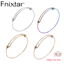 Fnixtar 50Pcs/Lot 1.8mm 1.6mm Thickness Wire Bangle Bracelets Stainless Steel Expandable Wire Cable Bangle Jump Ring 55/60/66mm