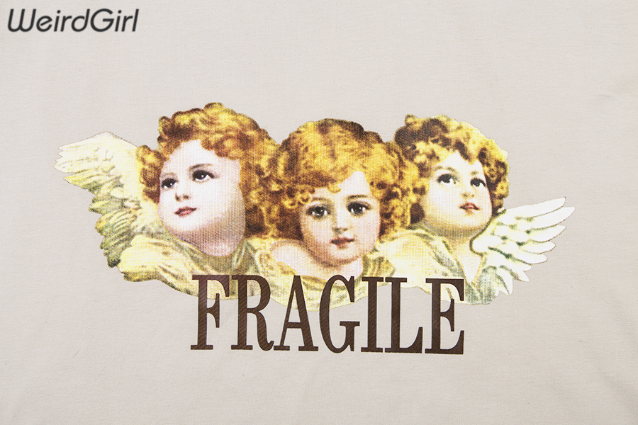 Weirdgirl Women Baby Angel Printing Casual Fashion T-shirts letter Short Sleeve O-Neck Khaki Loose Female Tees Summer New 19 11