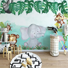 Custom murals 3D modern minimalist cartoon animal elephant flower childrens room background wall covering wallpaper mural