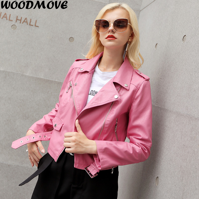European Style Turn-down Collar Pu Leather Jacket Motorcycle Leather Clothing Women Slim PU Locomotive Jackets Soft Leather Coat
