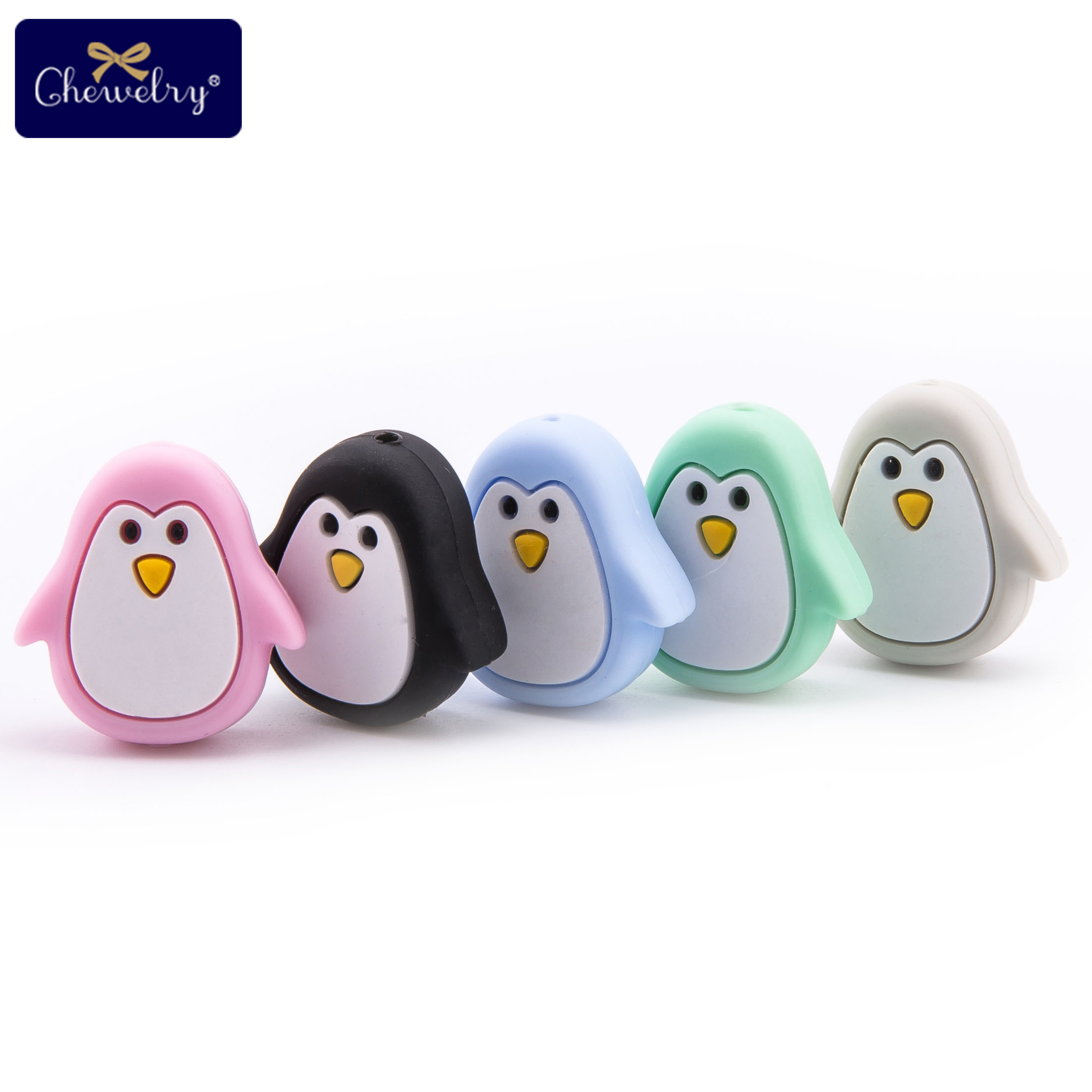 5 Pc Baby Animal Silicone Teether Bead Baby Holder Chain Food Grade Perle Silicone Beads Diy Pacifier Chain Children's Goods Toy