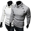 Men's Turtleneck Sweaters 2016 New Pullover Patchwork Personalized Small pocket Design Pullovers Men Clothing,ty1509