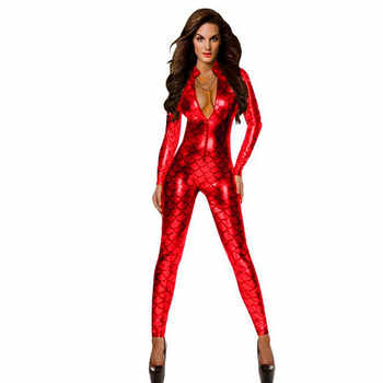 Women Sexy Snake Print Lingerie Faux Leather Night Club jumpsuit Bodysuit Adult Latex PVC Catsuit Zipper fetish Erotic Lingerie - DISCOUNT ITEM  41% OFF All Category