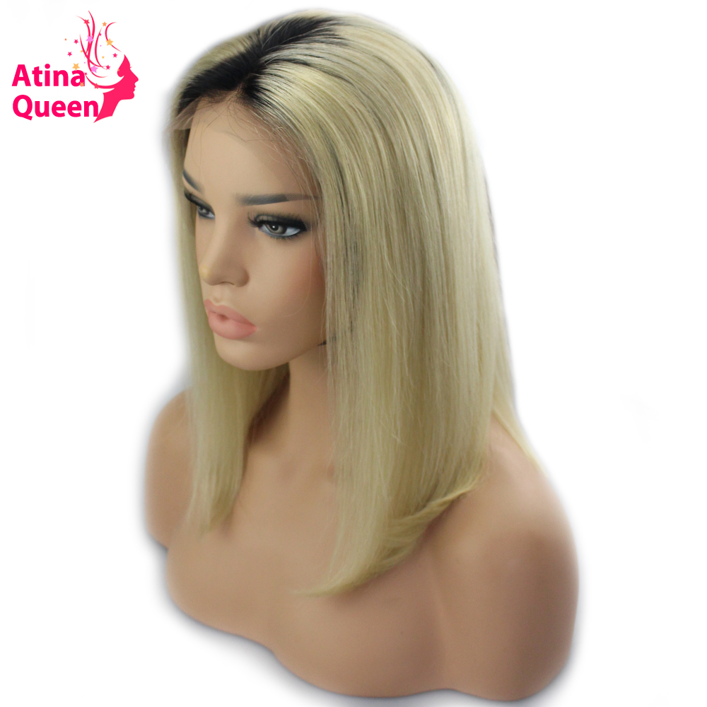 Atina Queen Dark Roots Blonde Bob Wigs for Black Women Ombre 1b 613 Short Lace Front Human Hair Wig with Baby hair Blunt Remy