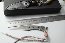 dance-hostes Damascus steel  blade Outdoor Camping knife Portable Survival Hunting knives with leather sheath knives fixed blade