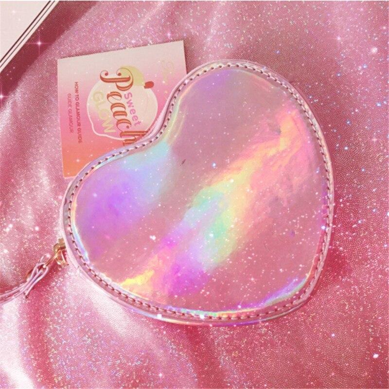 Koreaanse Vrouwen Laser Coin Bag Holografische Card Purse Mooie Hartvorm Hologram Portemonnee Zoete Clutch Vrouwelijke Bling Kleine Handtas Voor Een Soepele Overdracht