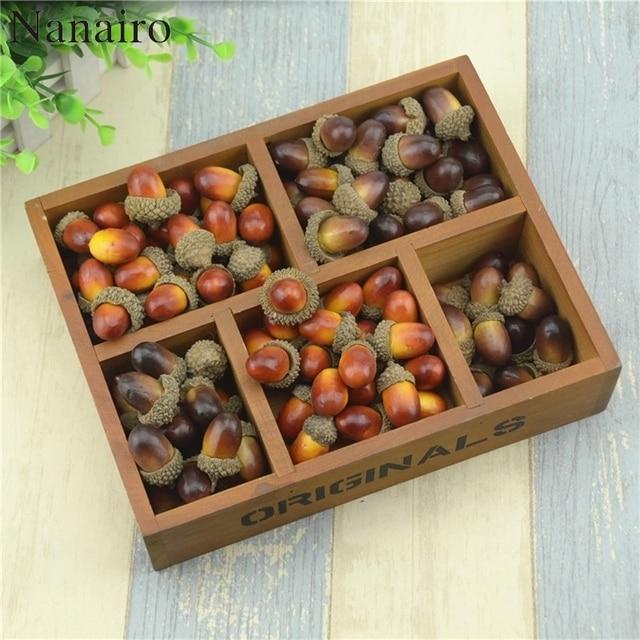 זול 20pcs 3cm בלוטים מיני מלאכותי מזויף קצף פירות וירקות פירות יער פרחים לחתונה חג המולד עץ קישוט
