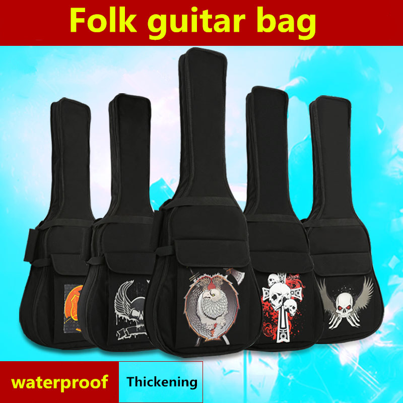 Waterproof Skeleton Thicken 40 41 Folk Flattop Balladry Steel-String Acoustic Classical Guitar Bag Case Backpack Carry Gig astraca deluxe brown black 40 41 acoustic guitar bag 600d nylon oxford guitar soft case gig bag 10mm thicken