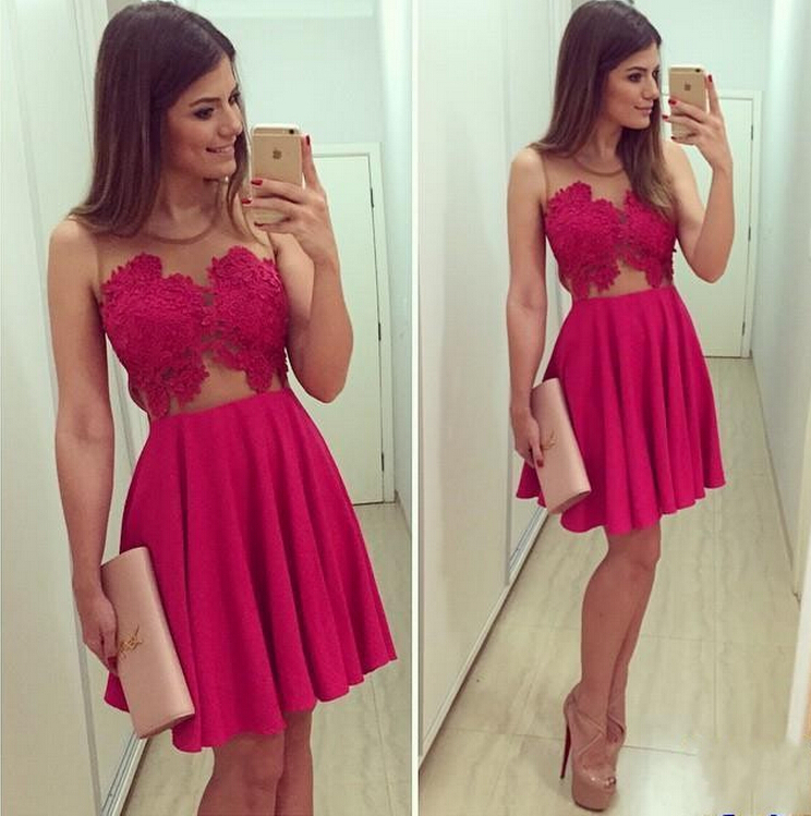 Vestido De Festa Curto 2018 Rose Red Short Prom Sheer Straps Lace Appliqued Chiffon Little Party Gown   bridesmaid     dresses